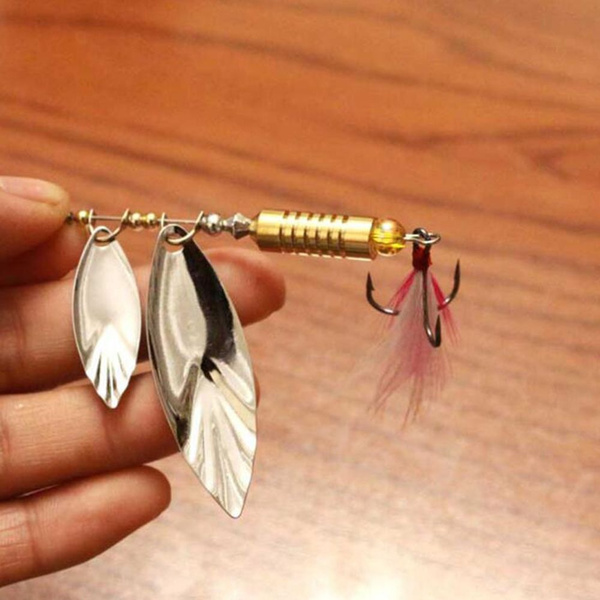 Hooked treble rotator bait patch feather fishing bait