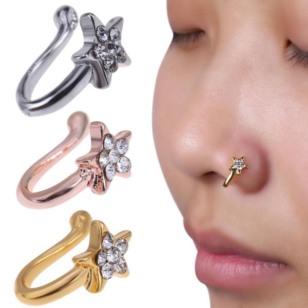 20pcs Mini Colors Rhinestone Nose Studs Ring Bone Bar Pin Piercing