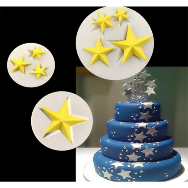 New Diy Cake Border Stars Fondant Silicone Mold Cake Decoration Tool