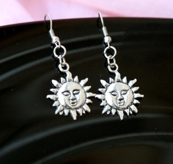 Jewelry, silversunearring, silverearringswithturquoise, sunmoonjewelry