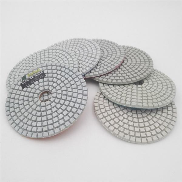 Diatool 7pcs Set Diameter 100mm White Rein Bond Sanding Discs For Marble Granite Stone Terrazzo Floor 4 Professional Diamond Wet Polishing Pads