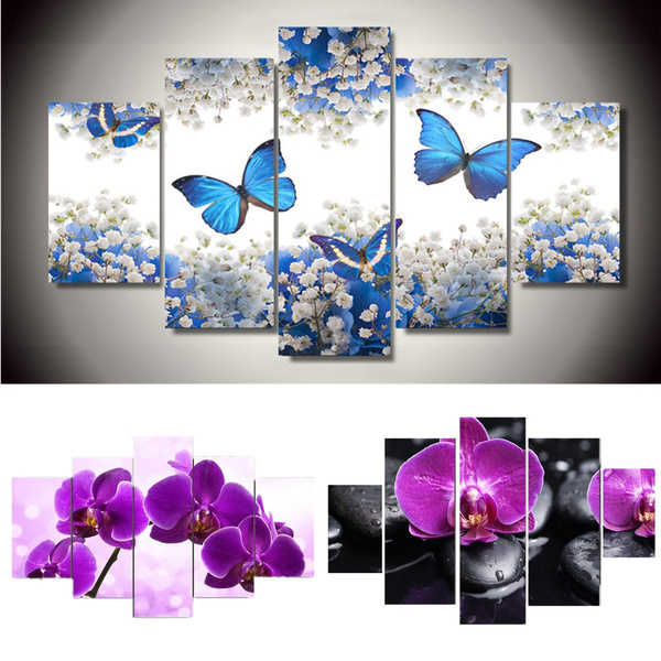 Wall art decoration set of 5pcs Print Picture Purple abstract flowers Size S//L