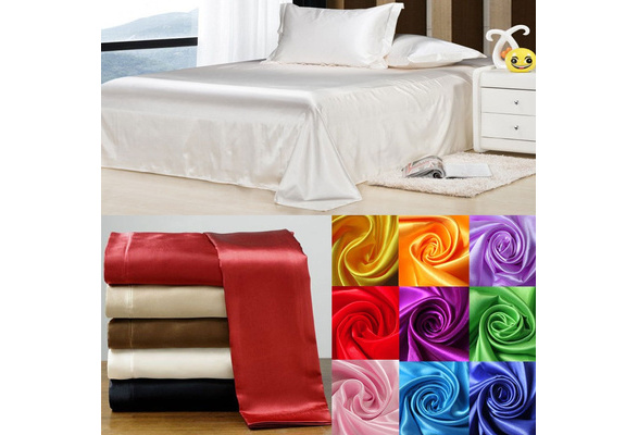 Home Textile Satin Silk Bed Sheet Set Solid Bedding Set Flat Sheet