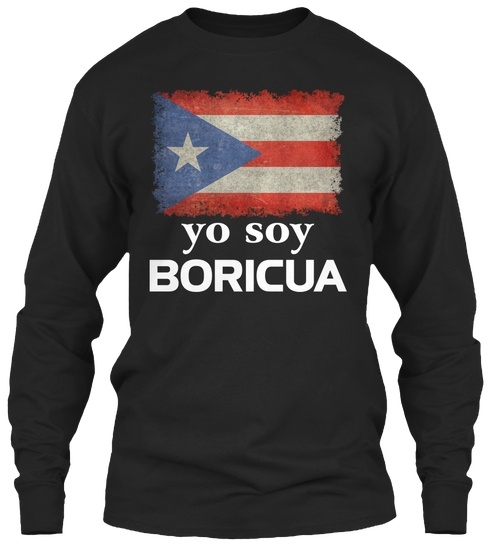 Gildan Long Sleeve Tee T-Shirt Puerto Rico Map Flag Yo Soy Boricua