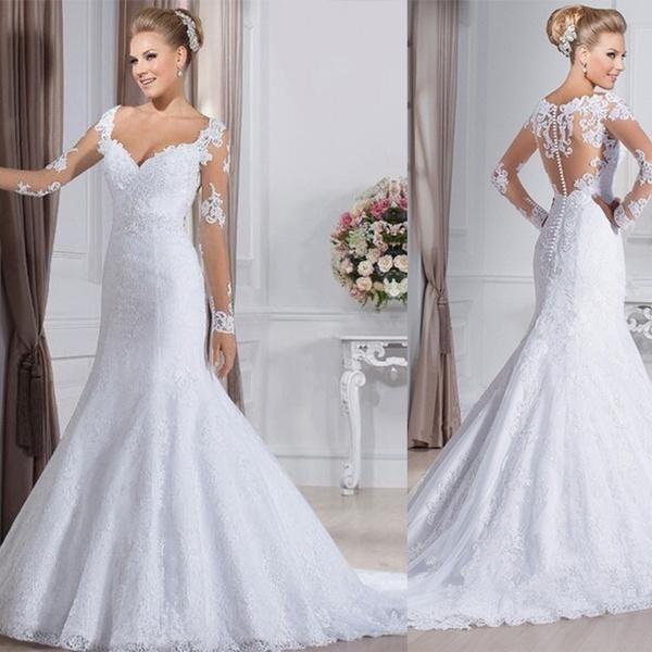 New Full Sleeve Lace Wedding Dress Mermaid Bridal Gown