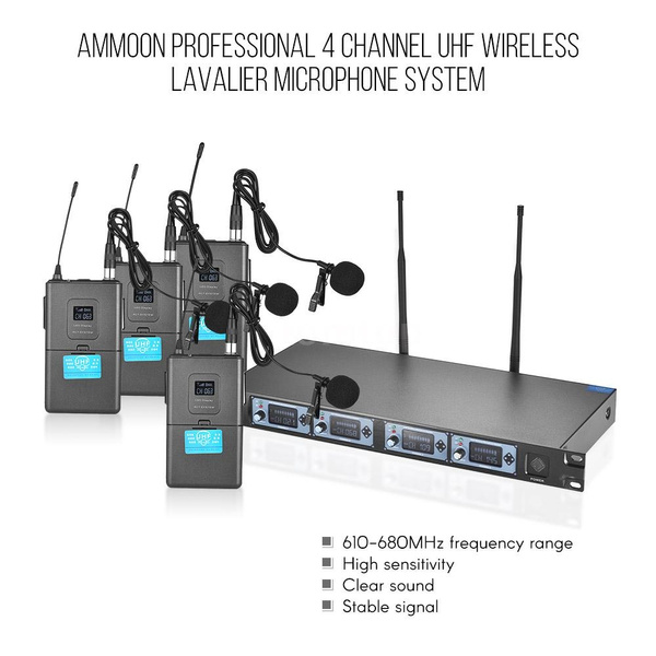 Ammoon 4S Professional 4 Channel UHF Wireless Lavalier Lapel Collar Clip-on  Microphone System 4 Mics 1 Wireless Receiver 6 35mm Audio Cable LCD