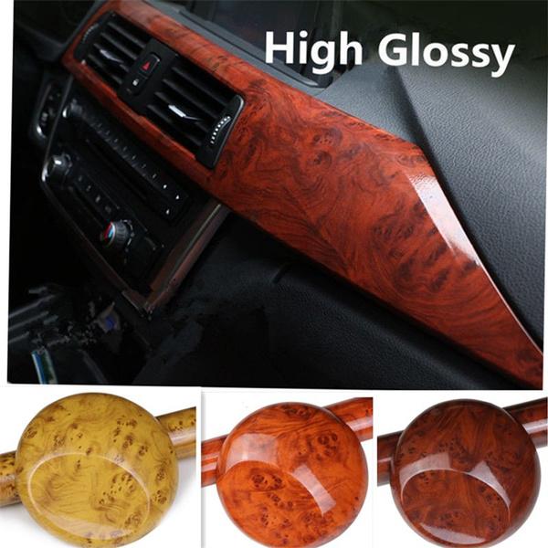 High Glossy Wood Grain Vinyl Sticker Decal Roll Car Interior Diy Film Wrap Self Adhesive Pvc Car Decoration