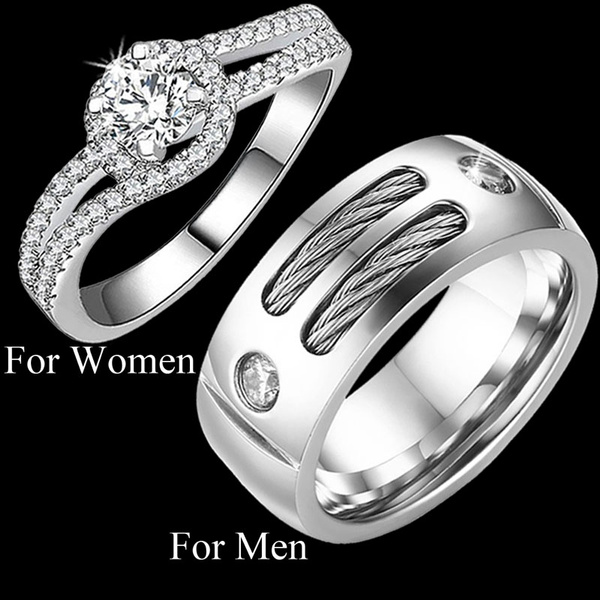 His Hers Wedding Ring Sets Couples Matching Rings Women S 925 Sterling Silver Wedding Ring Men S Cables Inlay Wedding Bands