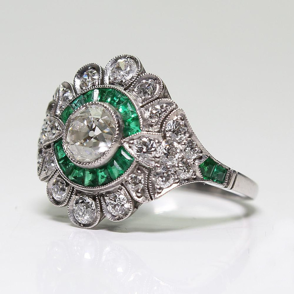 Elegant Antique Art Deco Jewelry 925 Sterling Silver Natural Emerald White  Sapphire Bride Wedding Engagement Floral Flowers Ring