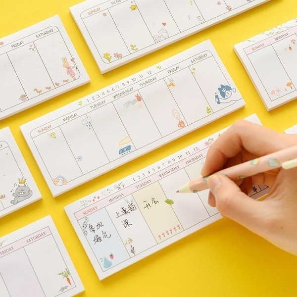 Kawaii Weekly Plan Paper Scrapbooking Stickers Sticky Note Stationery  School Supplies Memo Pad Notebook Post It