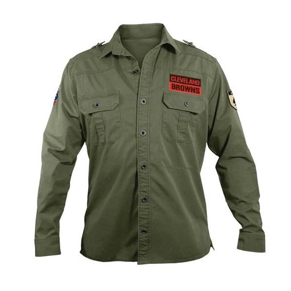 buy popular cebe7 cb810 Little Earth 300647-BRWN-M NFL Mens Military Shirt, Medium - Cleveland  Browns