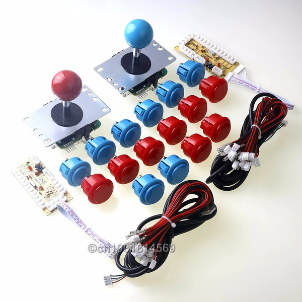 EG Starts Arcade Kits Parts Zero Delay USB Encoder To PC Games Genuine  Sanwa 8 Ways Joystick Bundles + 16 X Sanwa Buttons Wires for Arcade  Joystick