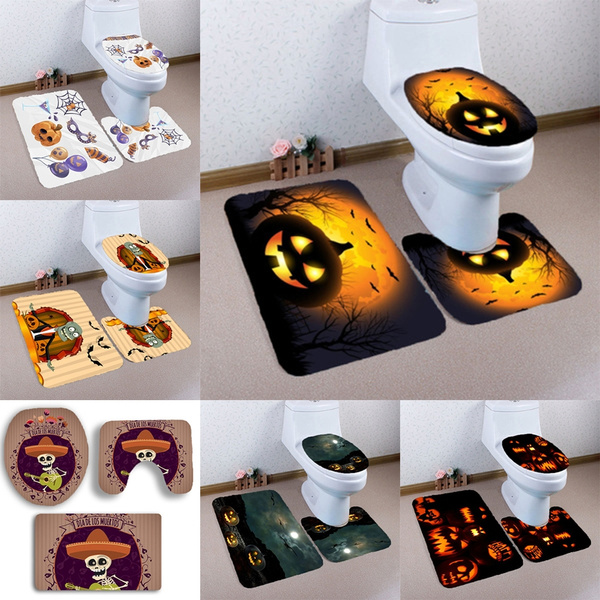 Peachy Home Decor Fashion Design Toilet Seat Cover Pumpkin Halloween Toilet Seat Cover Bathroom Rug Set Lamtechconsult Wood Chair Design Ideas Lamtechconsultcom