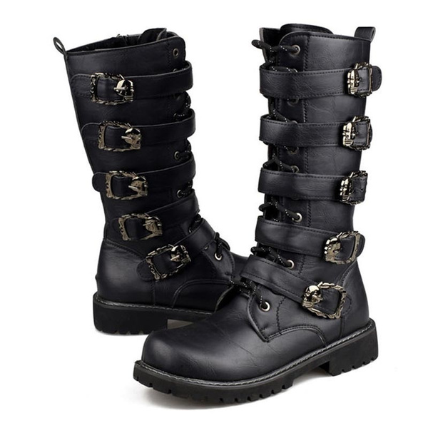 black combat boots with buckles