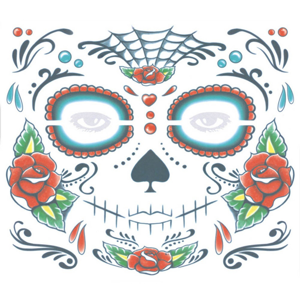 Wish 1pc Zombie Day Of The Dead Temporary Tattoo Mask Costume