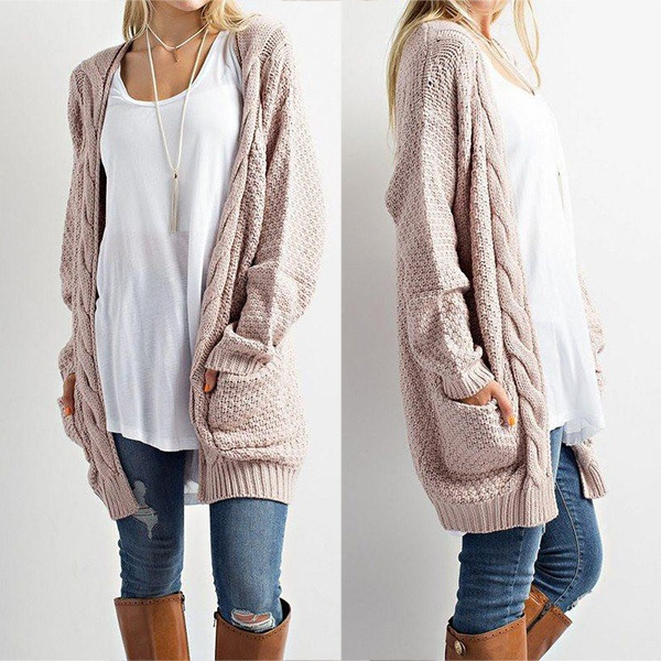 Womens Boho Long Sleeve Open Front Knit Warm Cardigans Pointelle Pullover Sweater Blouses