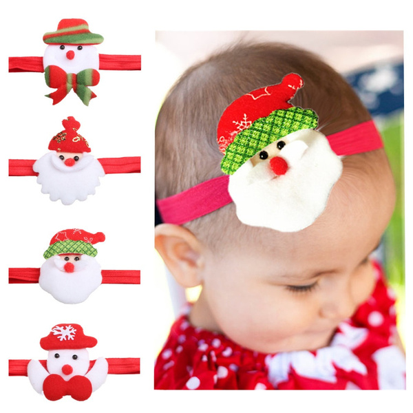 Christmas Headband For Baby Girl.Christmas Headband Baby Girl Santa Claus Snowman Cartoon Elastic Hairband Kids Headwear Hair Accessories