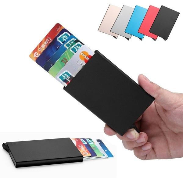 Carte Bleue Wish.Credit Card Holder Solid Color Metal Bank Credit Card Package Business Case Card Box Porte Carte Bancaire