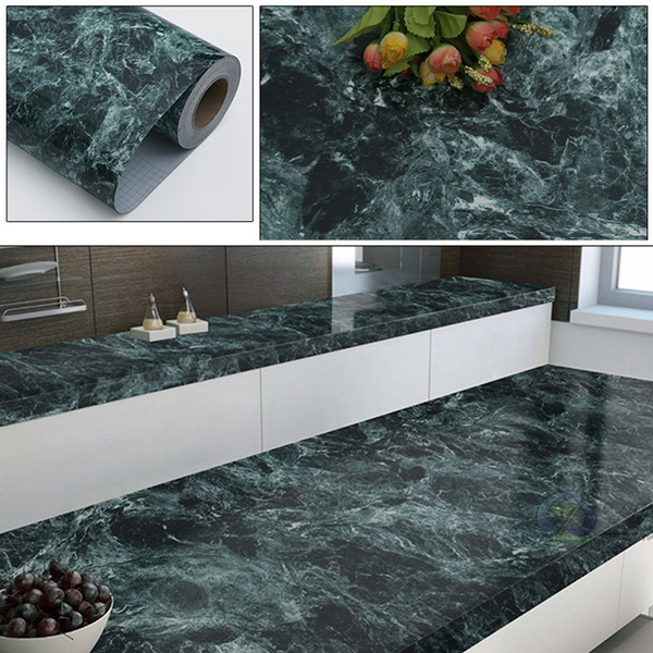 1m Marble Self Adhesive Wallpaper Pvc Wall Stickers For Kitchen Countertop Bathroom