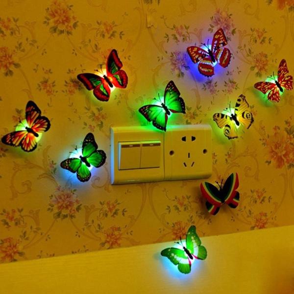Wish | LED Bunt Schmetterling Wanddeko Licht Party Licht, LED Deko  Beleuchtung Nachtlicht Wandleuchten Romantische Mehrfarbigen Flackern  Nachtlicht Für ...