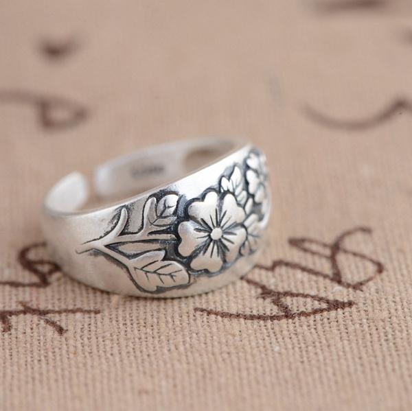 elegantring, Jewelry, genuine925silverring, flowerring