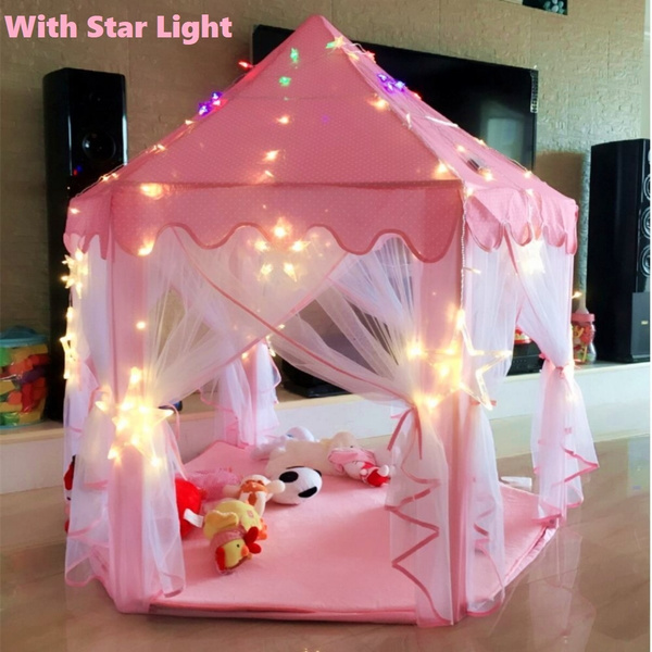 premium selection 63be6 00e01 With Star light Light Pink Tent Princess House Castle Girls Playhouse Kids  In/Outdoor Fairy Play Tent With Light (no mat)