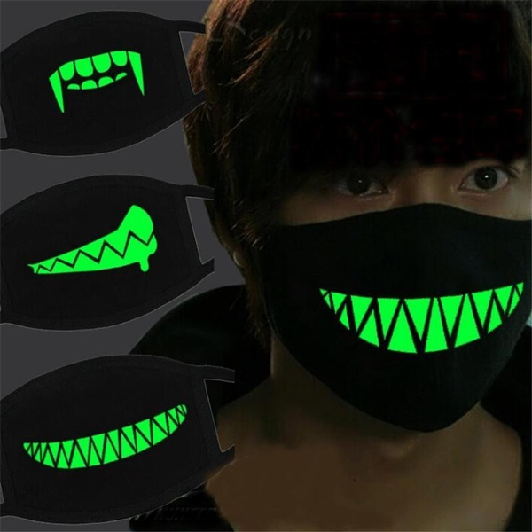 New Men And Women Boys And Girls Cotton Teeth Luminous Anti Dust Mouth Face Mask Anime Halloween by Wish