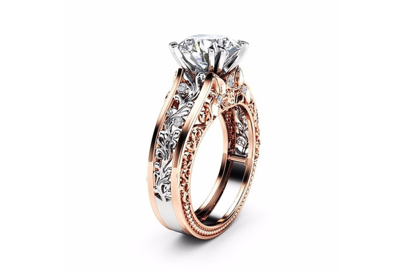Unique18k Rose Gold & amp;amp; 925 Sterling Silver Round Cut White & Topaz Champagne Women Wedding Engagement Jewelry Ring Size 6-10