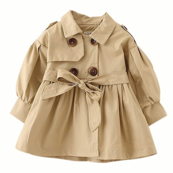 Kid Child Girls Double Breasted Lapel Trench Coat Outwear with Belt