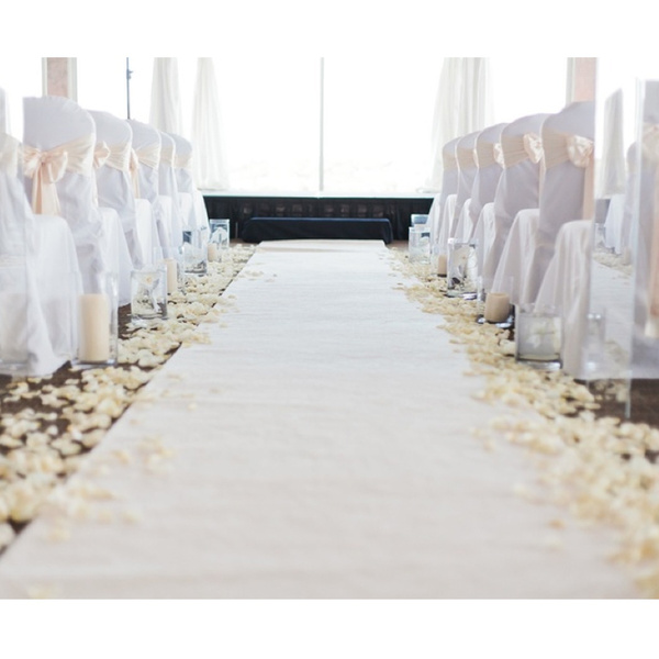 1 2m X 10m White Wedding Aisle Runner Plain Party Event Floor Rugs Decoration Supplies Polyester