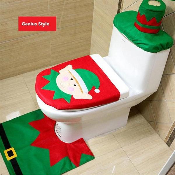 New Santa Claus Toilet Seat Cover and Rug Bathroom Set Contour Rug /déco de  toilette noël tapis contour