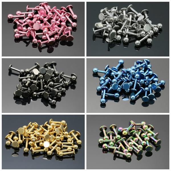 lippiercing, Stainless Steel, gold, roundbarbellearstud