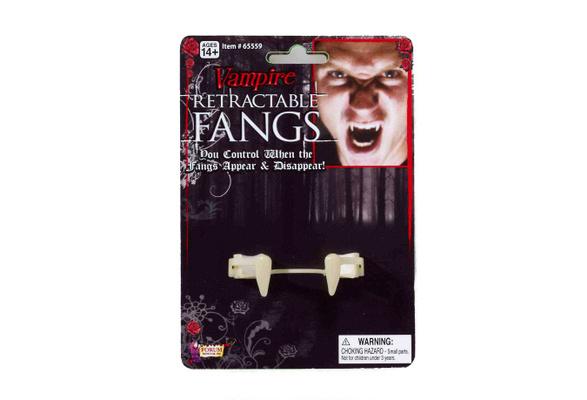 White Forum Retractable Vampire Fangs Halloween Costume False Teeth One Size