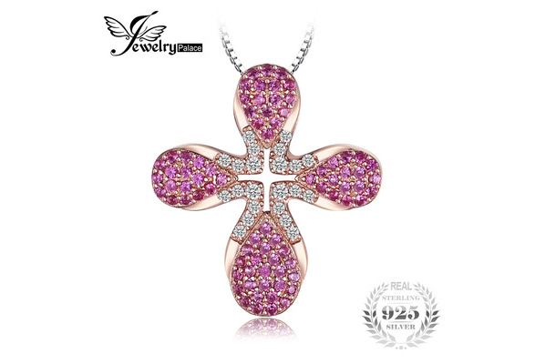JewelryPalace Fashion 0.5ct Created Ruby Rose Gold Plating Pendant 925 Sterling Silver 18 Inches