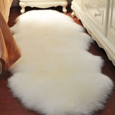 5 Colors Pure High-Quality 4-in-1Super Soft Washable Shiny Sheepskin Fur Wool Carpet Rugs for Floor Chairs Sofas Cushions Kitchen Bed Faux Fur Mats Bay Window Tea Table Blissful Living Room for Families