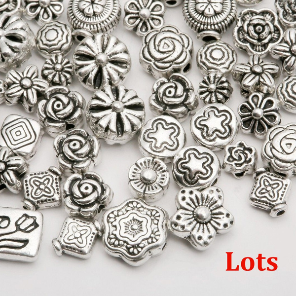 hi Wholesale  Mixed 80pcs Tibetan Silver Flower Spacer Beads For Jewelry DIY