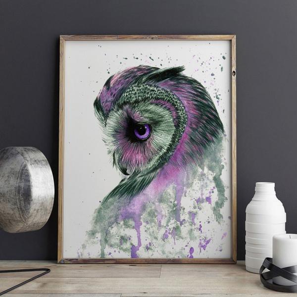 Purple Owl Watercolor Art Painting Kids