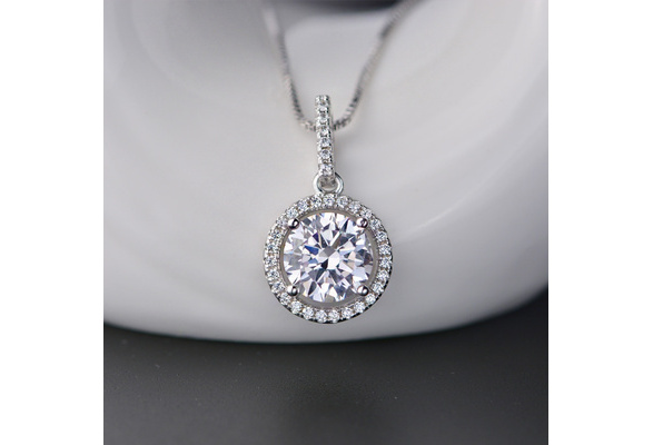 New Classic Round Sharped Pendant Sliver Color AAAAA+ CZ Created Cubic Zirconia Necklace Jewelry for Women