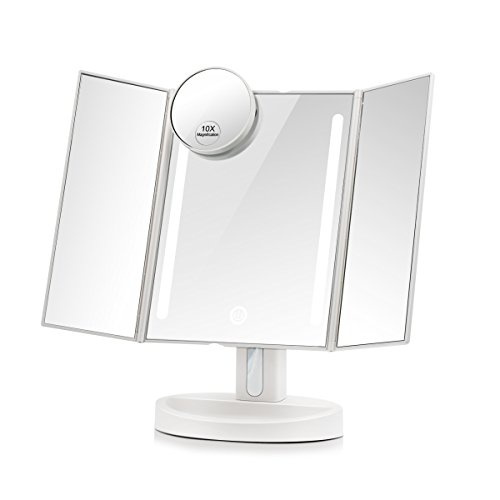 Small Lighted Makeup Mirror.Terresa Led Lighted Makeup Mirror With 10x Magnifying Small Mirror Touch Screen And Dual Power Supply Adjustable Stand Desk Trifold Vanity Mirror