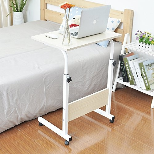 Astonishing Soges Adjustable Lap Table Portable Laptop Computer Stand Desk Cart Tray Side Table For Bed Sofa Hospital Nursing Reading Eating White 05 1 60W Gmtry Best Dining Table And Chair Ideas Images Gmtryco