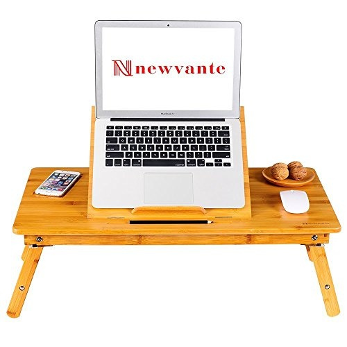 Admirable Large Size Laptop Tray Desk Nnewvante Bamboo Adjustable Table With Usb Fan2 Foldable Breakfast Serving Right Left Hand Bed Tray Uwap Interior Chair Design Uwaporg