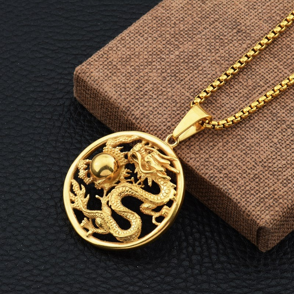 Dragon Mens Hip Hop Iced Out Goldplated Silver Pendant Necklace Round Box Chain Wish