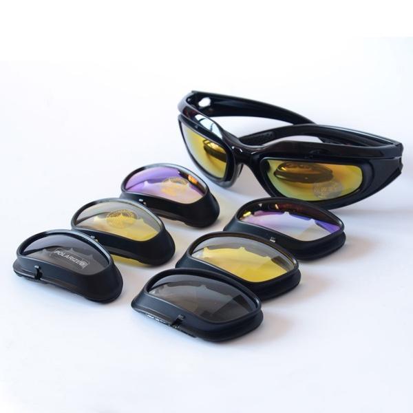 b3be38550dcd Daisy C5 Army Goggles Military Sunglasses 4 Lens Kit Men s Desert Storm War  Game Tactical Glasses Sporting
