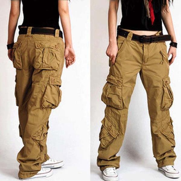 Woman Cargo Pants Cotton Trousers Loose Plus Size Ladies Harem Hip Hop Army Pants Women Wide Leg Casual Pants