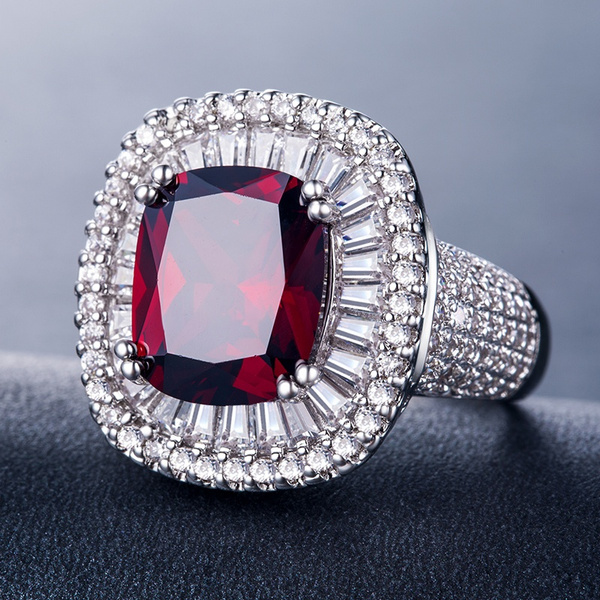 White Gold, 925 silver rings, Engagement Ring, garnet