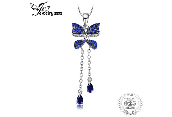 JewelryPalace Butterfly 0.8ct Pear Shape Created Sapphire Created Blue Spinel Pendant 925 Sterling Silver