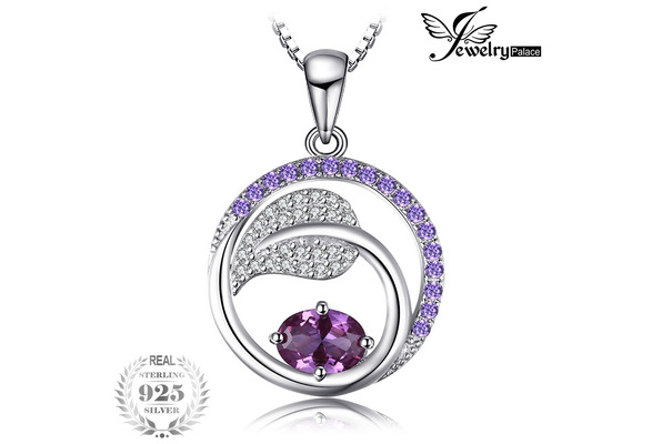 JewelryPalace Leaf 1.4ct Created Alexandrite Sapphire Purple Cubic Zirconia Pendant 925 Sterling Silver 18 Inches