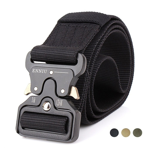 Tactical Belt with Heavy-Duty Quick-Release Metal Buckle Military Style  Webbing Riggers Web Belt Christmas Gifts