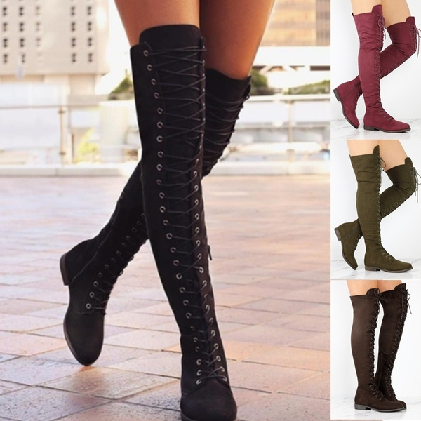 in stock lovely luster limited guantity Fashion Women Wautumn Winter Shoes Wide Calf Over Knee Boots Flat Thick  Heel Solid Suede Long Boots Sexy Thigh High Eyelet Lace-Up Female Casual ...