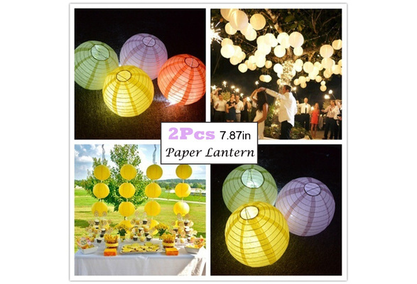 2pcs 8inches Colorful Round Paper Lantern Chinese Hanging Lantern Wedding Birthday Xmas Party Event Venue Craft Decoration 20CM